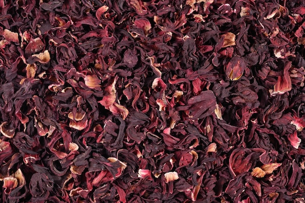 Pilha de pétalas secas de hibisco