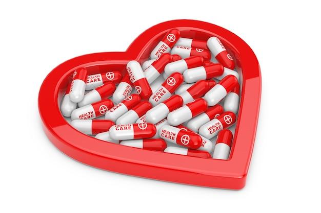 Pilha de pílulas de cuidados de saúde em forma de coração vermelho sobre um fundo branco. renderização 3d