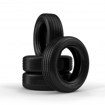 Pilha de pneus de carros