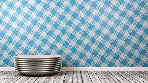 Pilha de pratos de cerâmica branca na sala