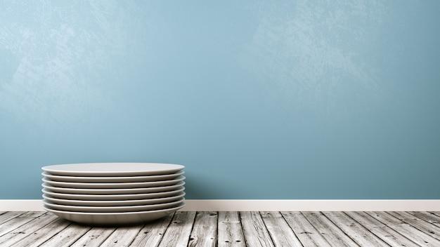 Pilha de pratos de porcelana branca na sala