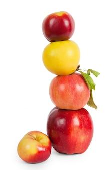 Pilha, de, quatro, maçãs, isolado