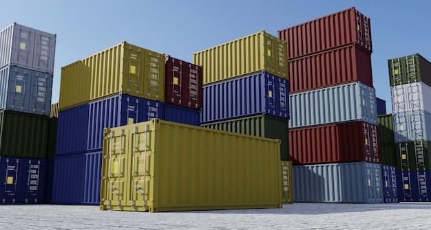Pilha de recipientes em uma doca de armazenamento logístico com céu azul no fundo. renderização 3d.