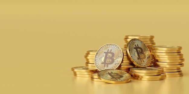 Pilha de renderização 3d de bitcoins criptomoeda dourados em fundo dourado com espaço de cópia