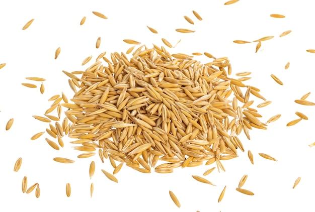 Pilha de sementes de aveia, isoladas no branco, vista superior