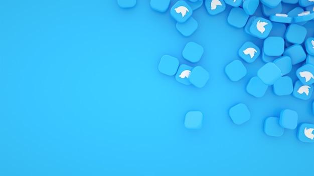 Pilha dispersa de fundo de ícones do twitter