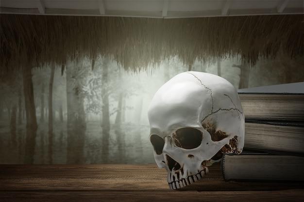 Pilha do livro com um crânio humano e uma floresta assombrada