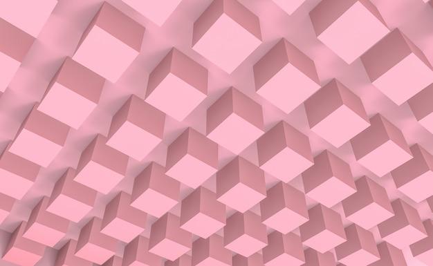 Pilha doce da caixa do cubo da cor do rosa pastel no fundo do projeto do teto.