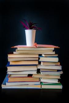 Pilha livros preto fundo flor biblioteca antigo lote de vaso