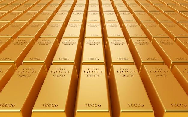 Pilha realista de barra de ouro