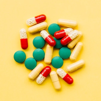 Pilha vista superior, de, pílulas