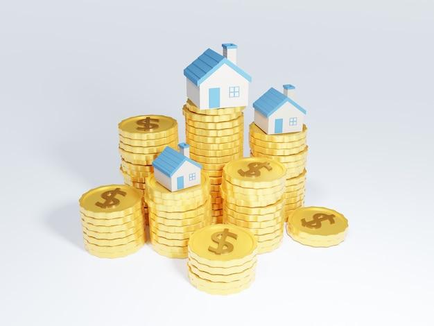 Pilhas 3d de moedas com casas no topo
