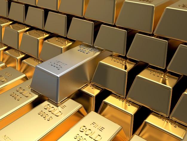 Pilhas de barras de ouro com uma de prata