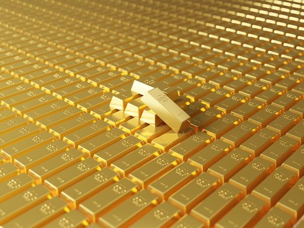 Pilhas de barras de ouro. conceito de riqueza