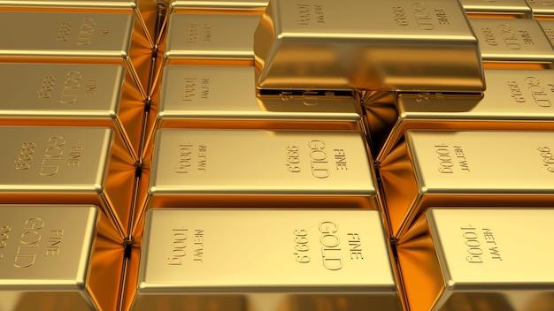 Pilhas de barras de ouro em fileiras