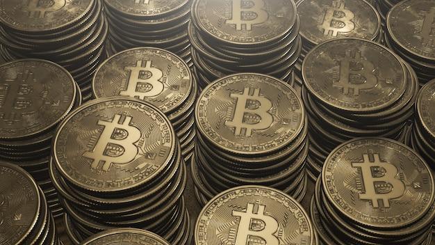 Pilhas de bitcoins dourados
