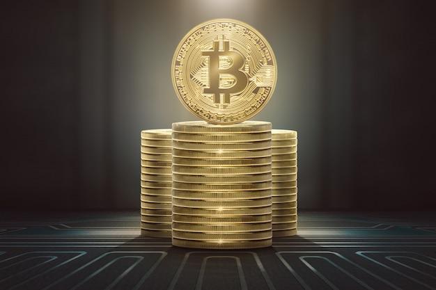 Pilhas de bitcoins em pé