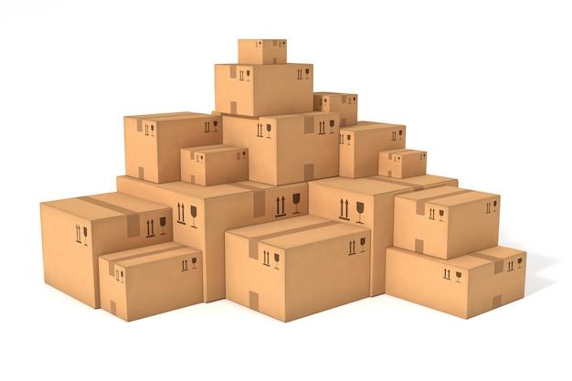 Pilhas de caixas de papelão