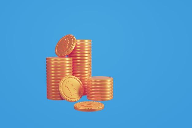 Pilhas de criptomoedas bitcoins. ilustração 3d render