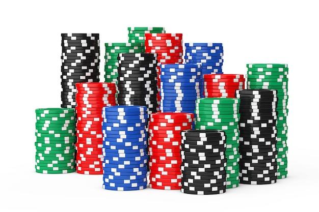 Pilhas de fichas de cassino de pôquer coloridas em um fundo branco. renderização 3d.