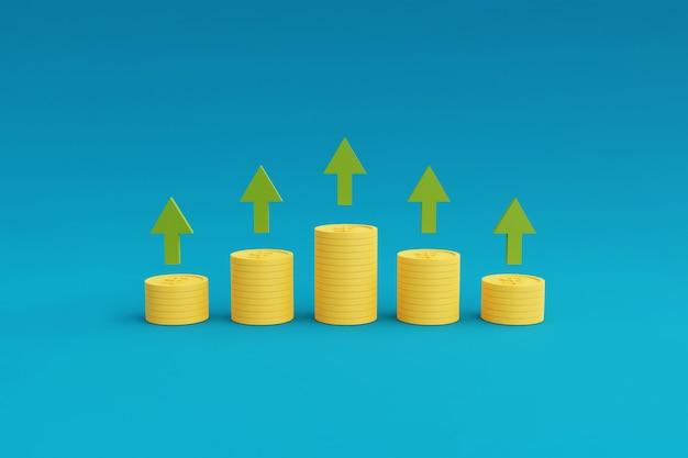 Pilhas de moedas com gráfico mostrando a seta para cima