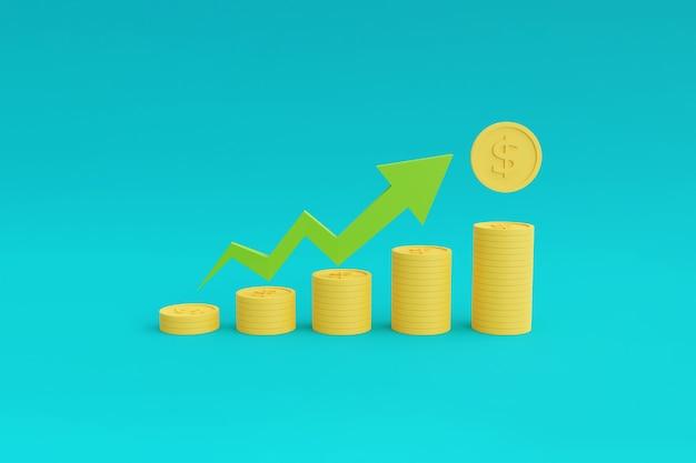 Pilhas de moedas com gráfico mostrando o crescimento da seta para cima