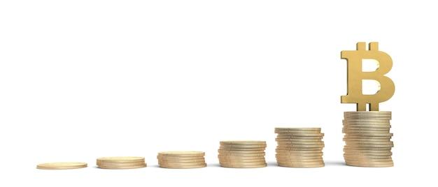 Pilhas de moedas crescendo progressivamente com um símbolo de bitcoin dourado no topo. ilustração 3d.
