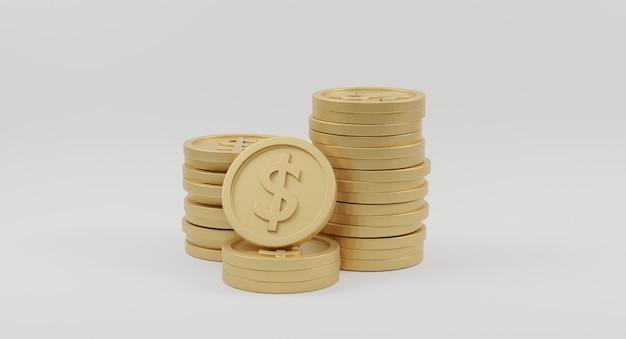 Pilhas de moedas de ouro com cifrão em fundo branco. conceito bancário e financeiro. renderização 3d