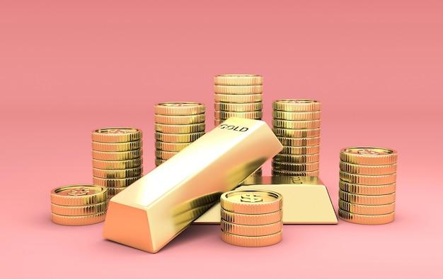 Pilhas de moedas e lingotes