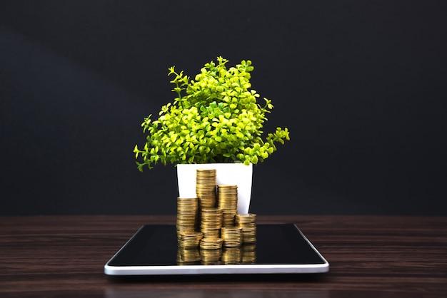 Pilhas de moedas e pequena árvore no tablet