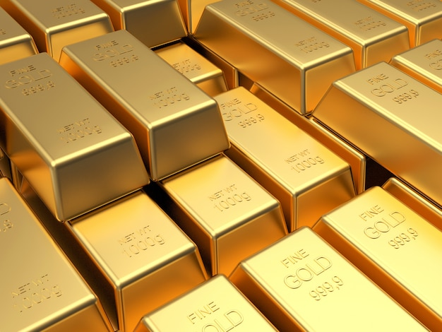 Pilhas de muitas barras de ouro em fileiras