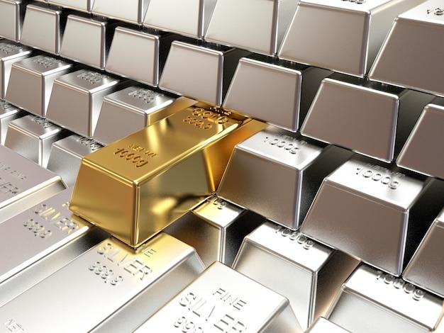 Pilhas e fileiras de barras de prata com uma de lingote de ouro