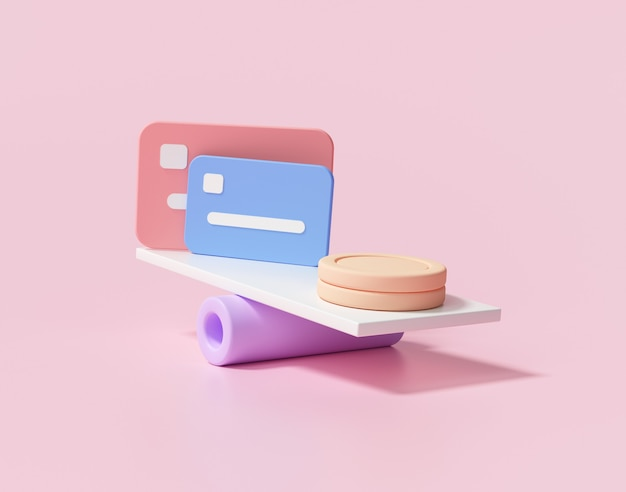 Pilhas mínimas de moedas e cartão de crédito em balanças