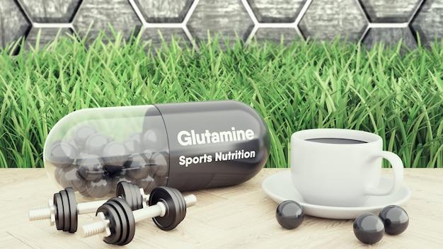 Pílula de glutaminebig, dois halteres e uma xícara de café