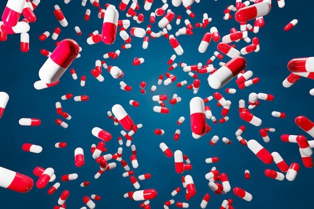 Pílulas cápsulas brancas e vermelhas com ilustração 3d