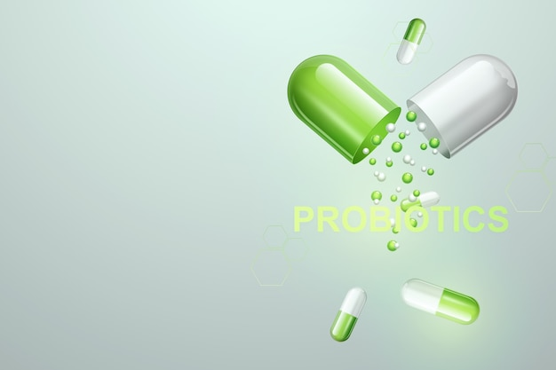 Pílulas e comprimidos com inscrição de probióticos
