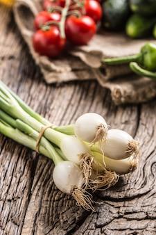Pimenta de pepino cebola vegetal fresca e tomate na mesa de carvalho rústica.