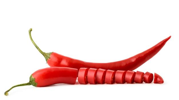 Pimenta vermelha em fundo branco