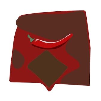 Pimenta vermelha quente em fundo branco isolada