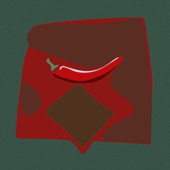 Pimenta vermelha quente em um fundo verde