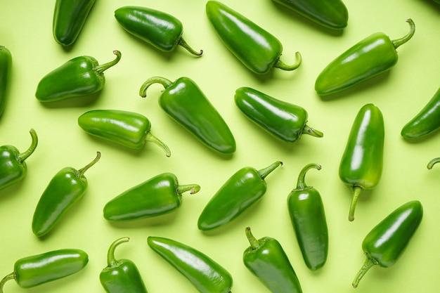 Pimentas jalapeno, sobre um fundo verde claro. postura plana.
