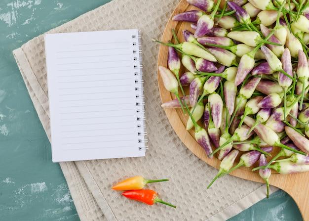 Pimentas na tábua com notebook plana leigos em gesso e toalha de cozinha