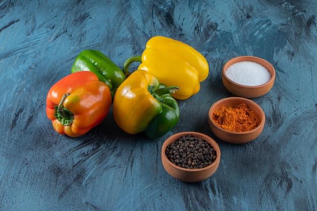 Pimentas orgânicas coloridas frescas e condimentos na superfície azul.