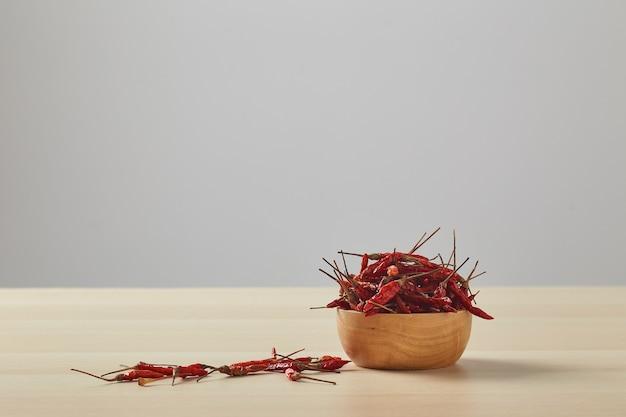 Pimentas secas em uma tigela de madeira colocada sobre uma mesa de madeira e uma parede branca para copiar o espaço do texto