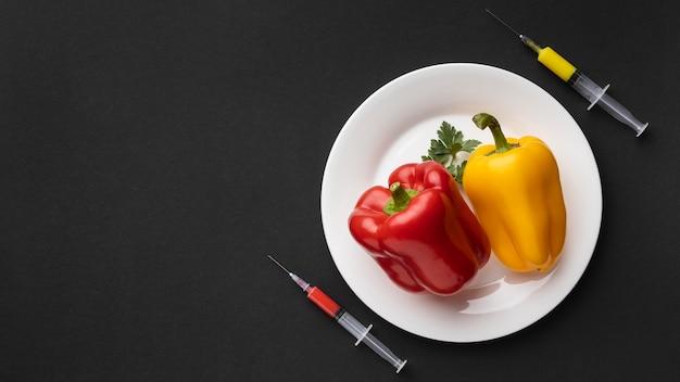 Pimentões injetados com produtos químicos ogm