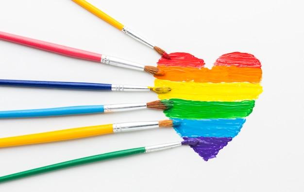 Pincéis de arco-íris de tinta para orgulho amor