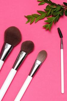 Pincéis de maquiador em rosa com uma planta verde