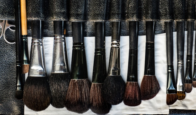 Pincéis de maquiagem dispostos em linhas para usar como um conceito de beleza