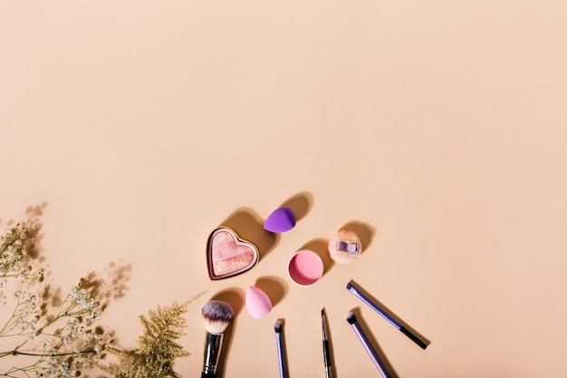Pincéis de maquiagem, liquidificador de beleza e ruge ao lado de lindas plantas na parede bege