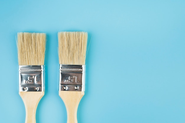 Pincéis de pintura da vista superior